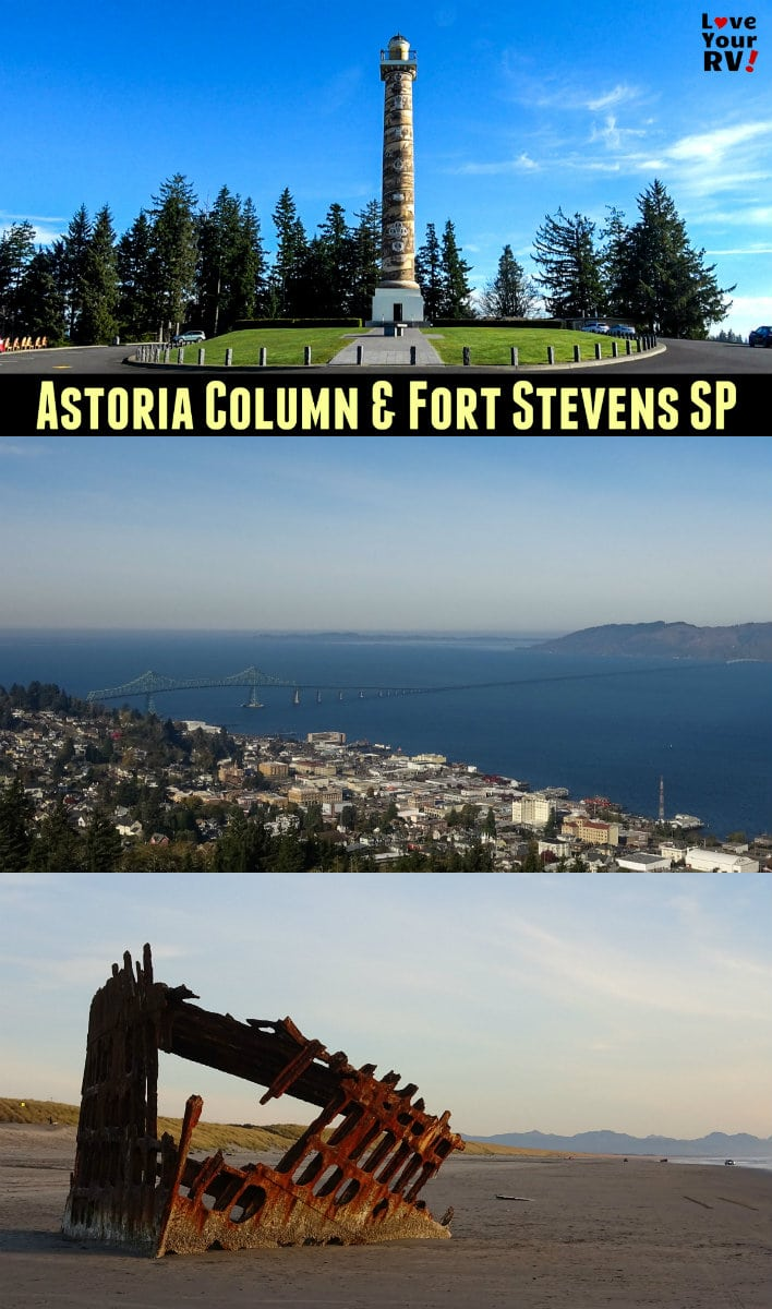 Visit to the Astoria Tower and Fort Stevens State Park on the mouth of the Columbia River in Oregon