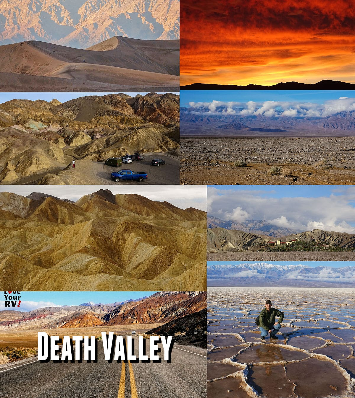 "This blog post features seven videos from our December 2019 RV trip into Death Valley National Park. We visited during a week that the park received a good dose of its yearly 2"" average rainfall, so made for some rare scenes that most visitors don't get to see."