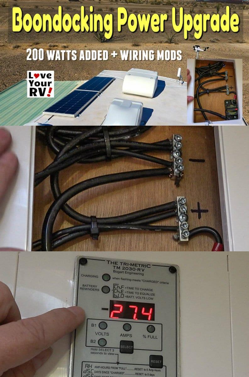 Boondocking Power Upgrade 200 Watts plus Wiring Update and Mods