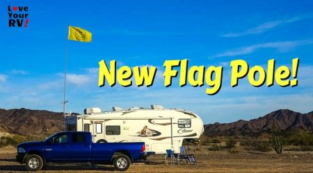 New Flag Pole for the RV – 22 foot FlagPole Buddy RV Ladder Kit