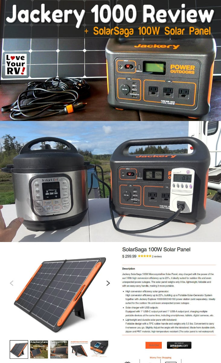 Testing and Review of the Jackery Explorer 1000 portable power box and the SolarSaga 100 Watt folding solar panel