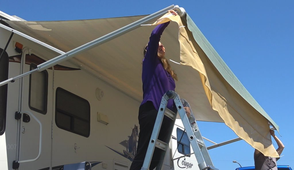 Anne helps with the Screen Room install