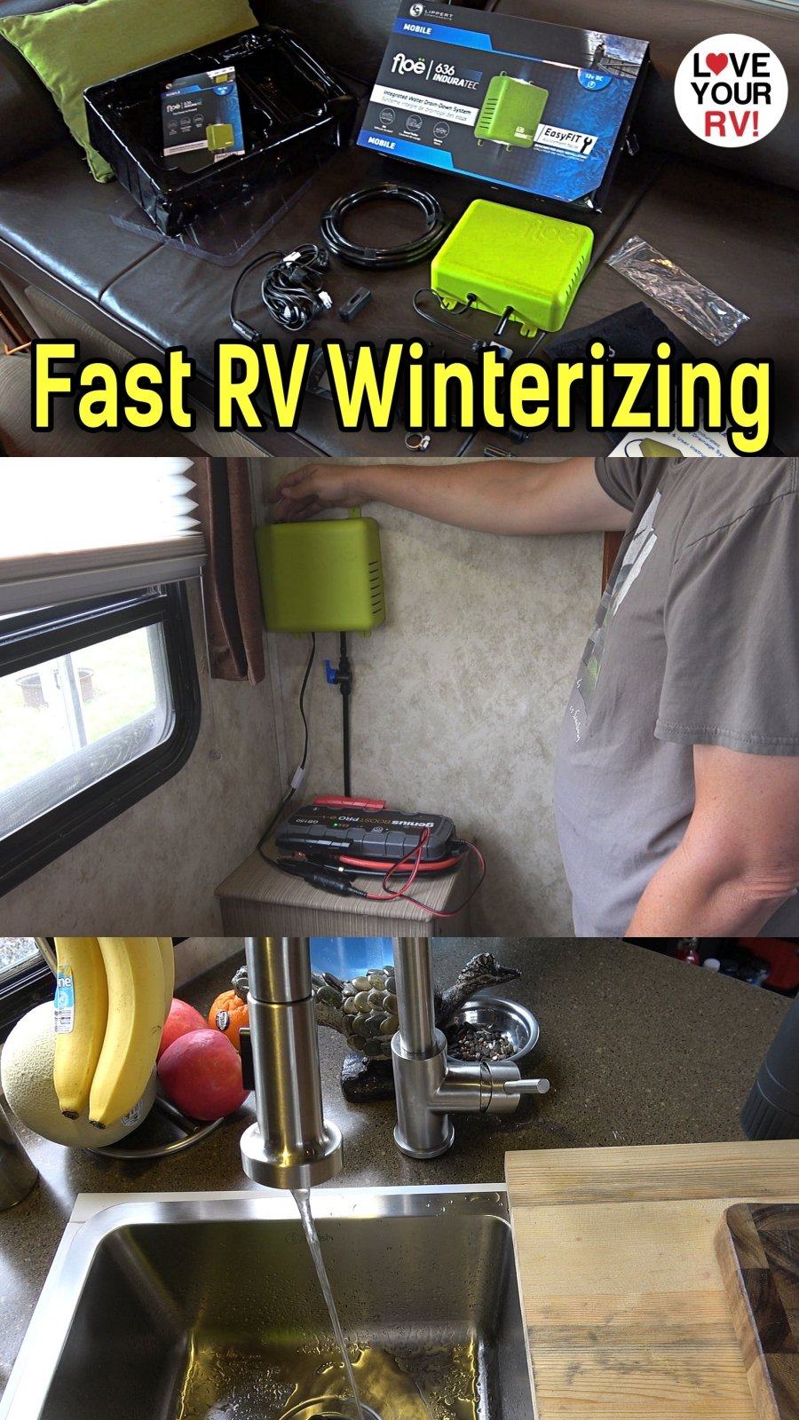 Install and Demo of the Lippert Floe RV Plumbing Automated Drainage System - Quick and Easy way to winterize the RV