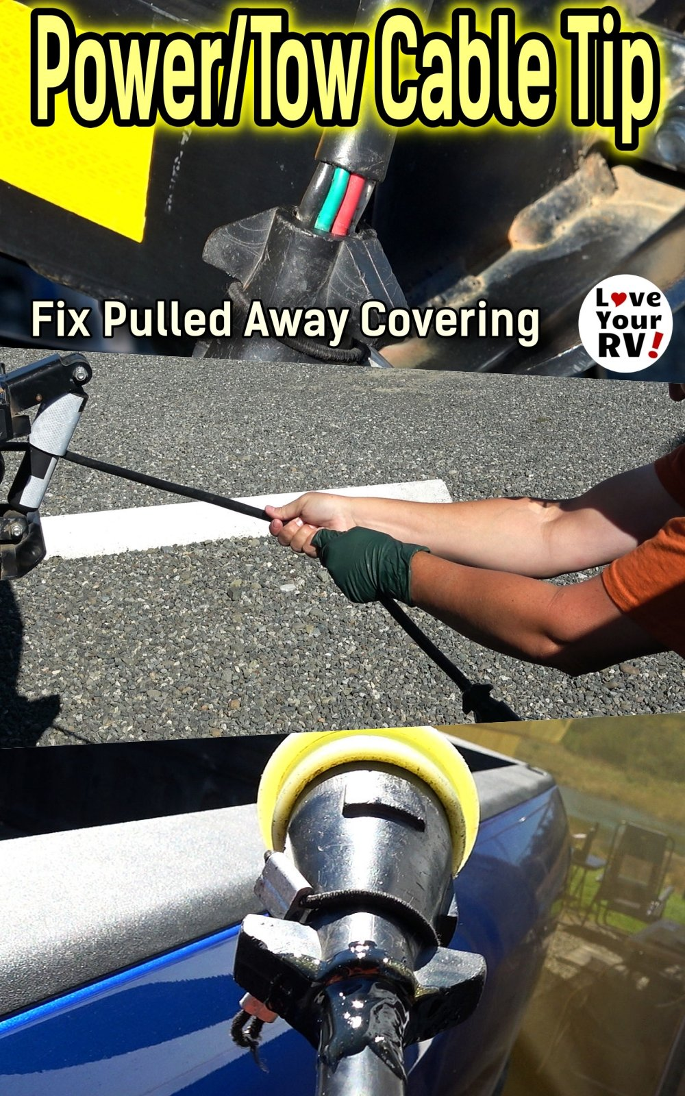 RV Power or Towing Cable Repair Tip - Fix Pulled Away Shrinking Covering