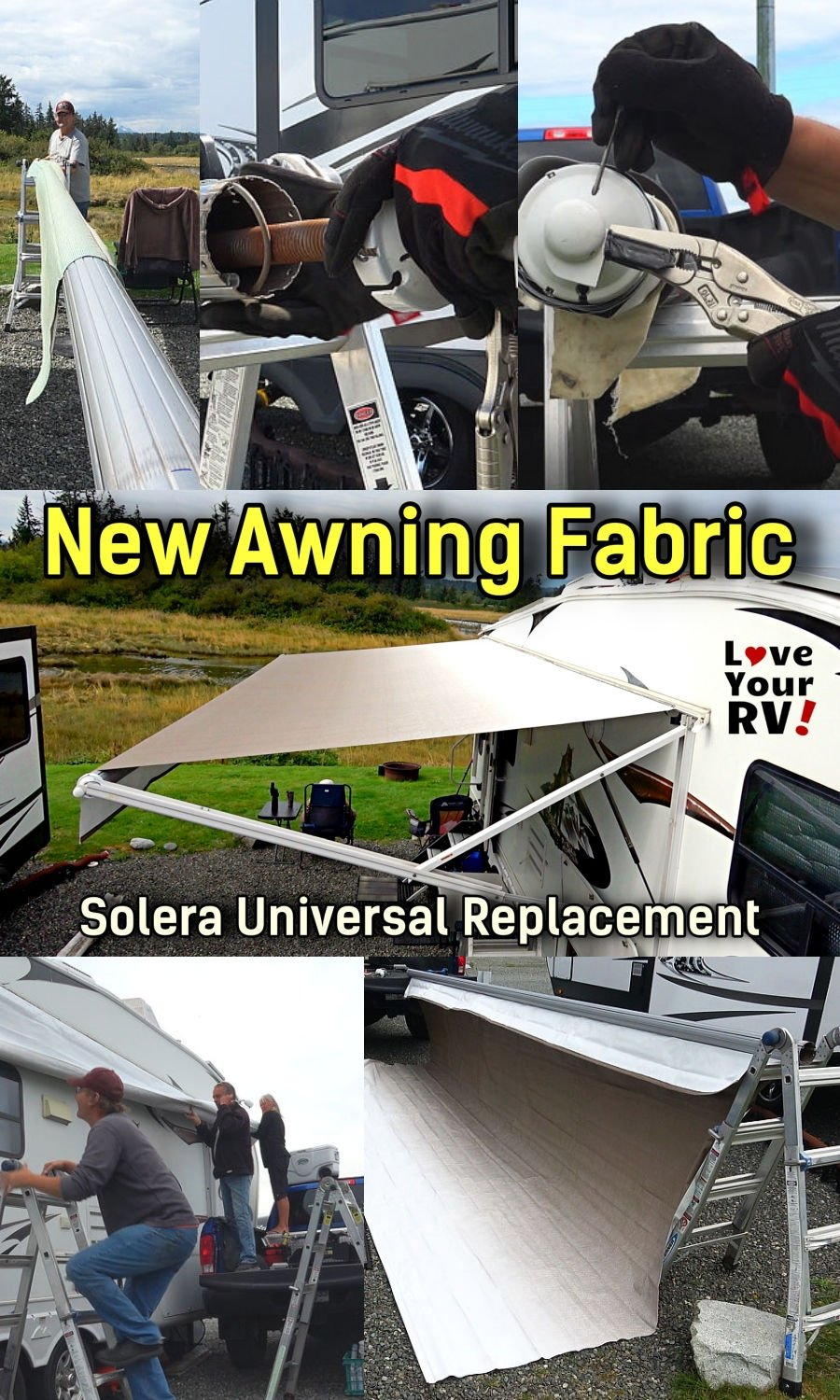 Replacing Worn Out RV Awning Fabric New Solera Universal Replacement Vinyl from Lippert Components