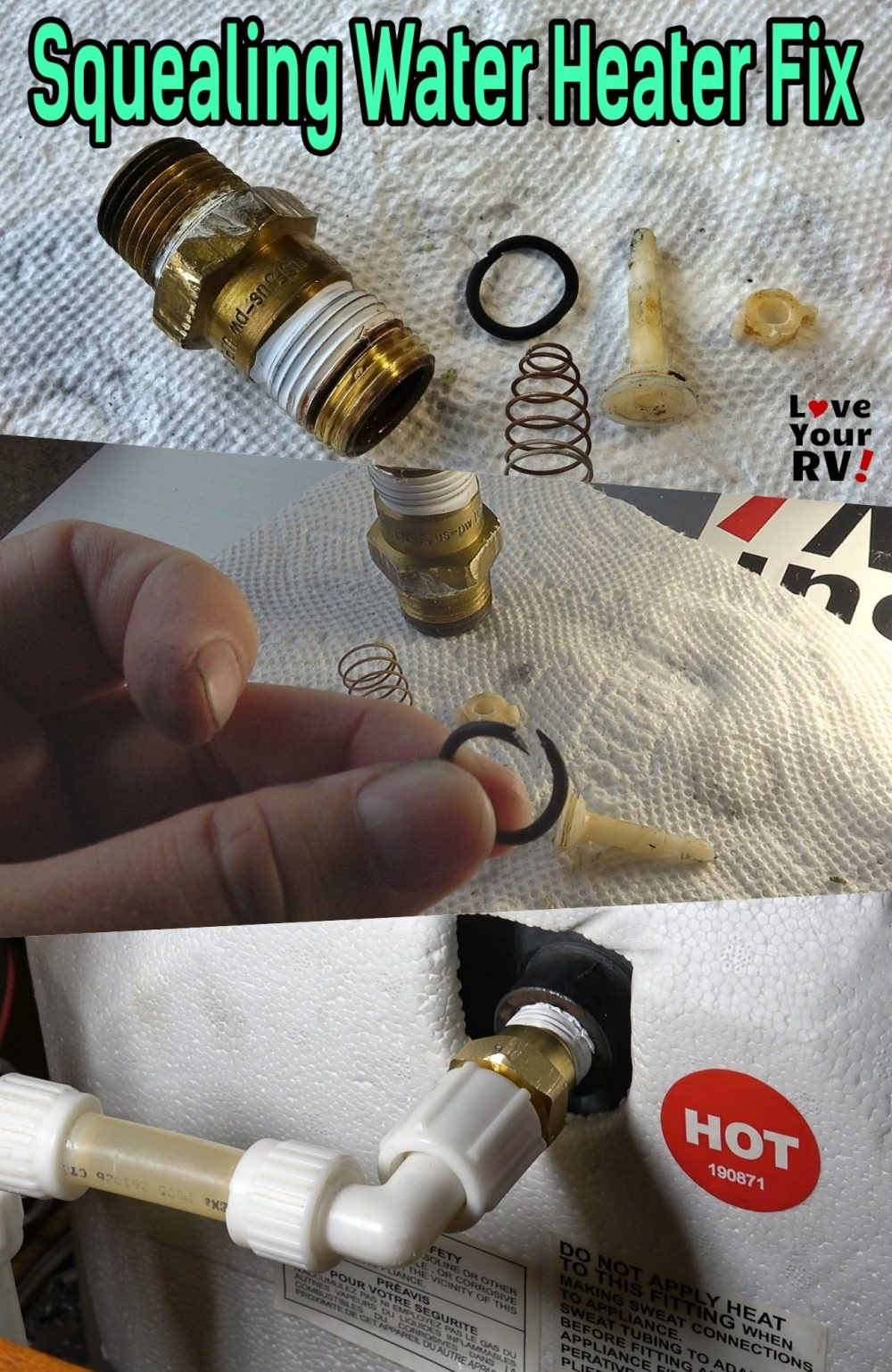 Fix for a Squealing RV Water Heater - Replaced faulty Check Valve with failed Rubber O-Ring