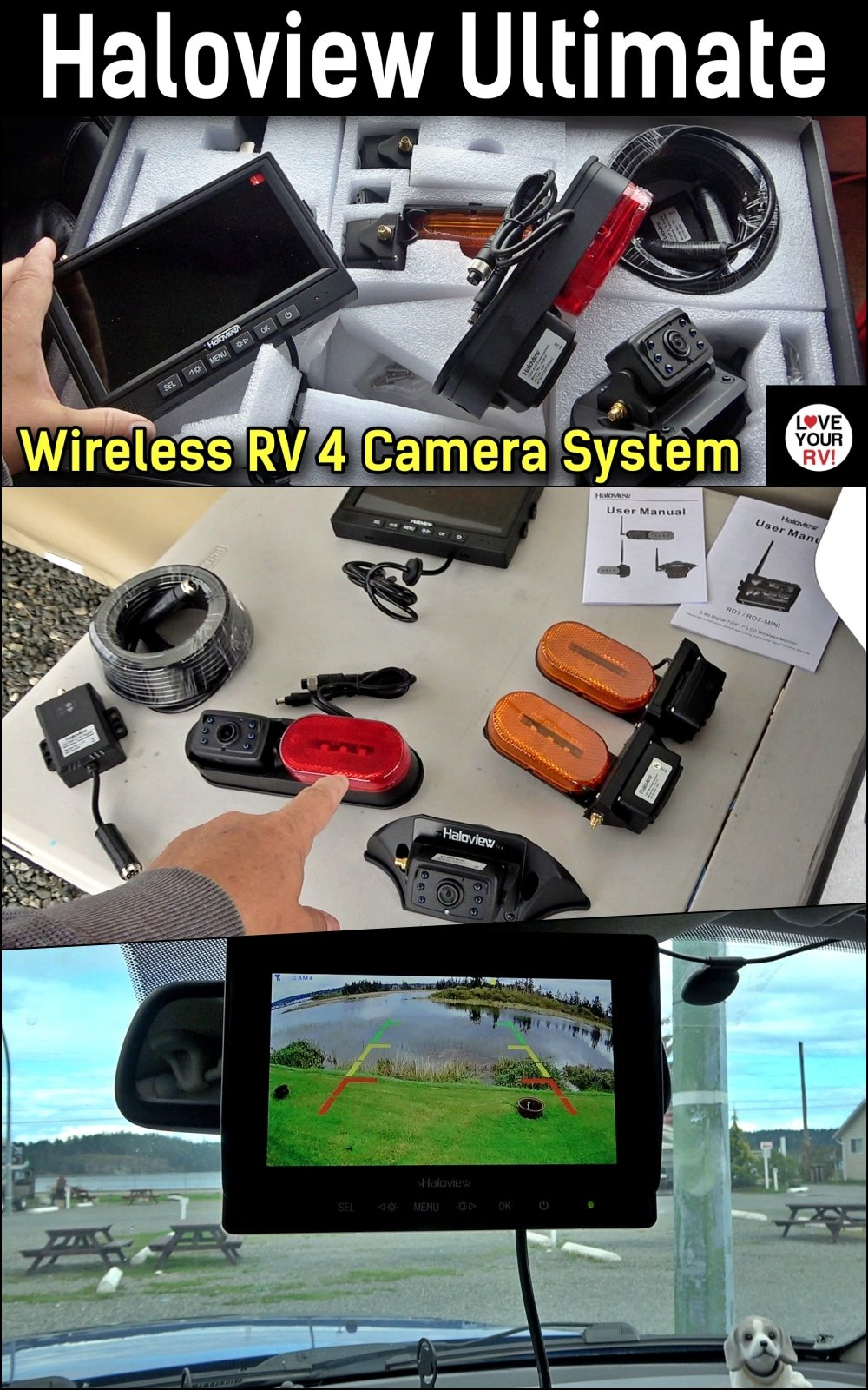 Installing the Haloview Ultimate Range Dominator Wireless RV Camera System with 4 cameras and range extender box