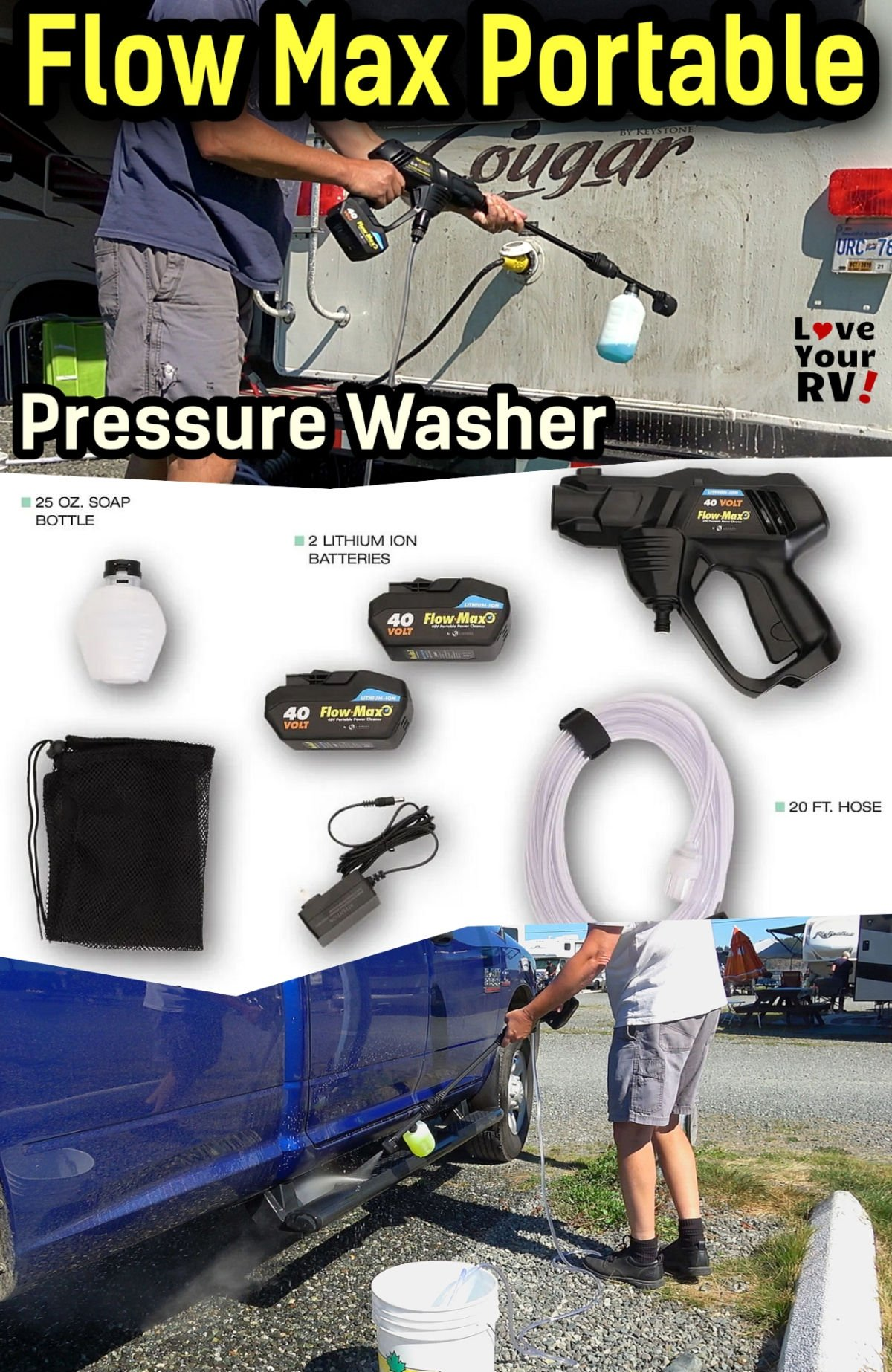 RV Gadgets - Demo and Review of the Flow Max 40V Portable Power Washer from Lippert Components