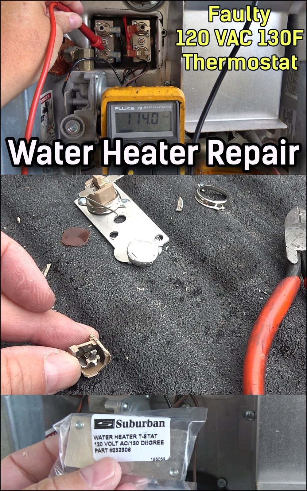Replacing a Faulty Suburban RV Water Heater 130F Degree Thermostat