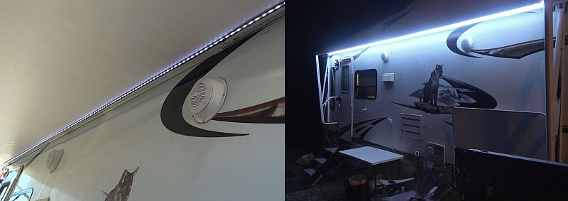 Awning light in day and night