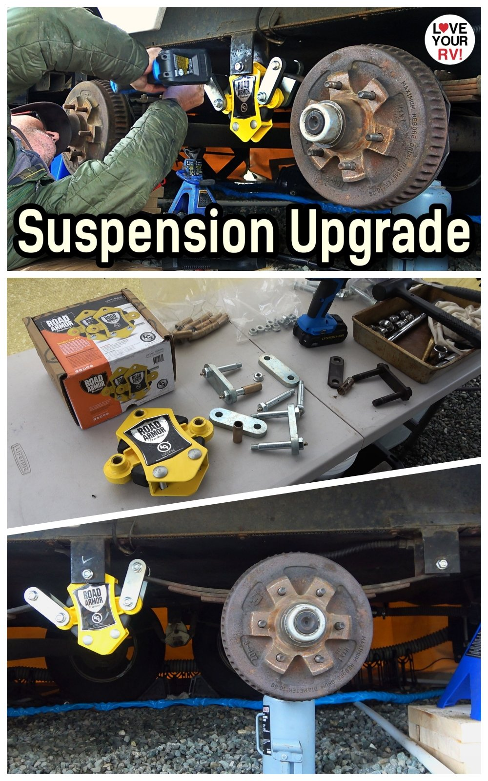 Fifth Wheel Trailer Suspension Upgrade Installed Road Armor Equailzer plus heavy duty shackles bronze bushings and greaseable wet bolt kit
