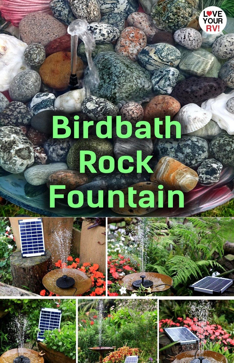 Campsite Decoration Idea - Solar Bird Bath Fountain with Cool Beach Rock Collection
