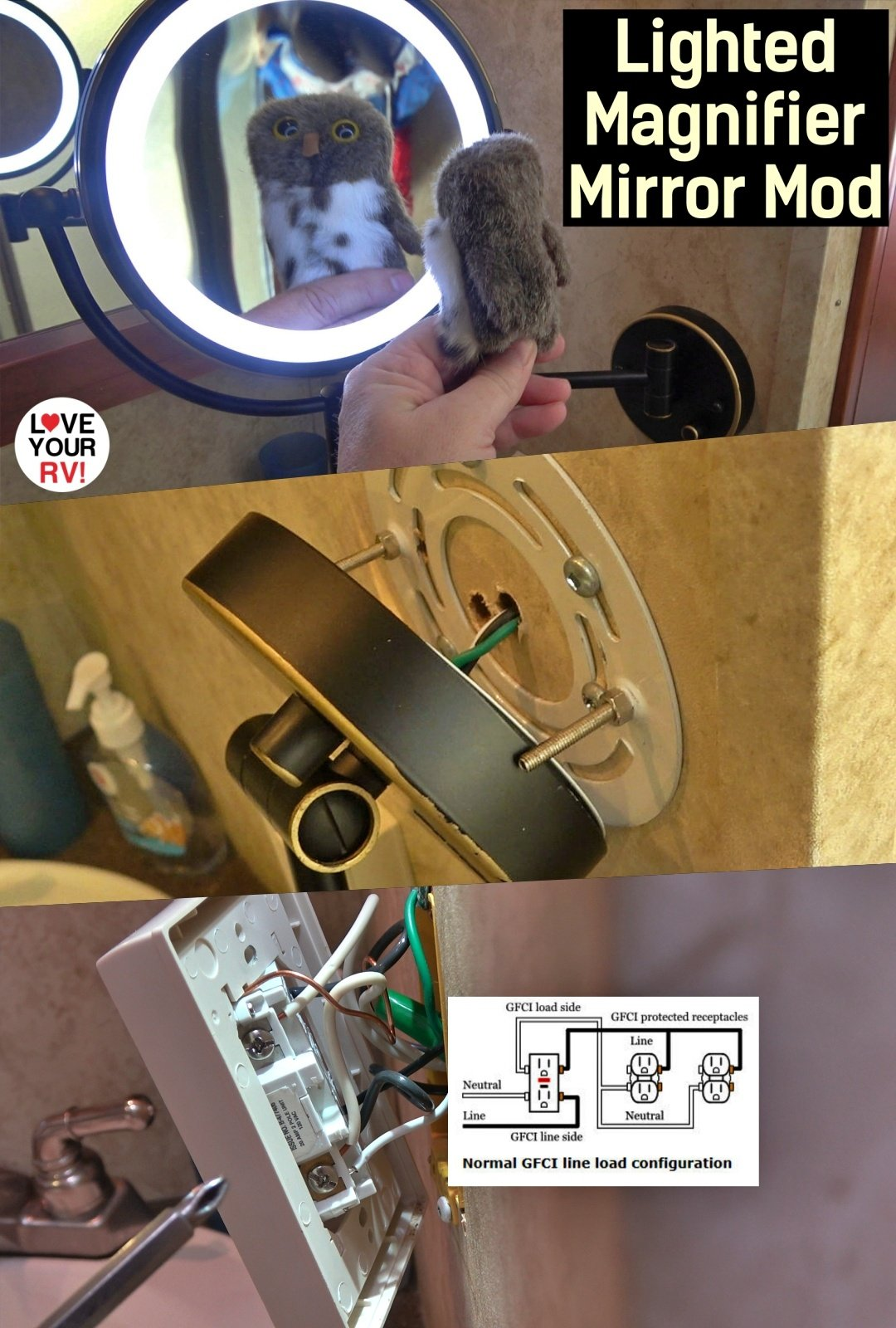 Installing a Lighted Magnifier Mirror into our RV Bathroom