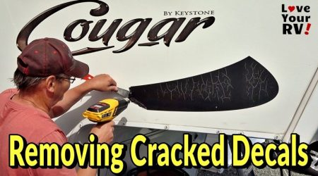 Removing Cracked Faded RV Graphics from our Cougar Fifth Wheel