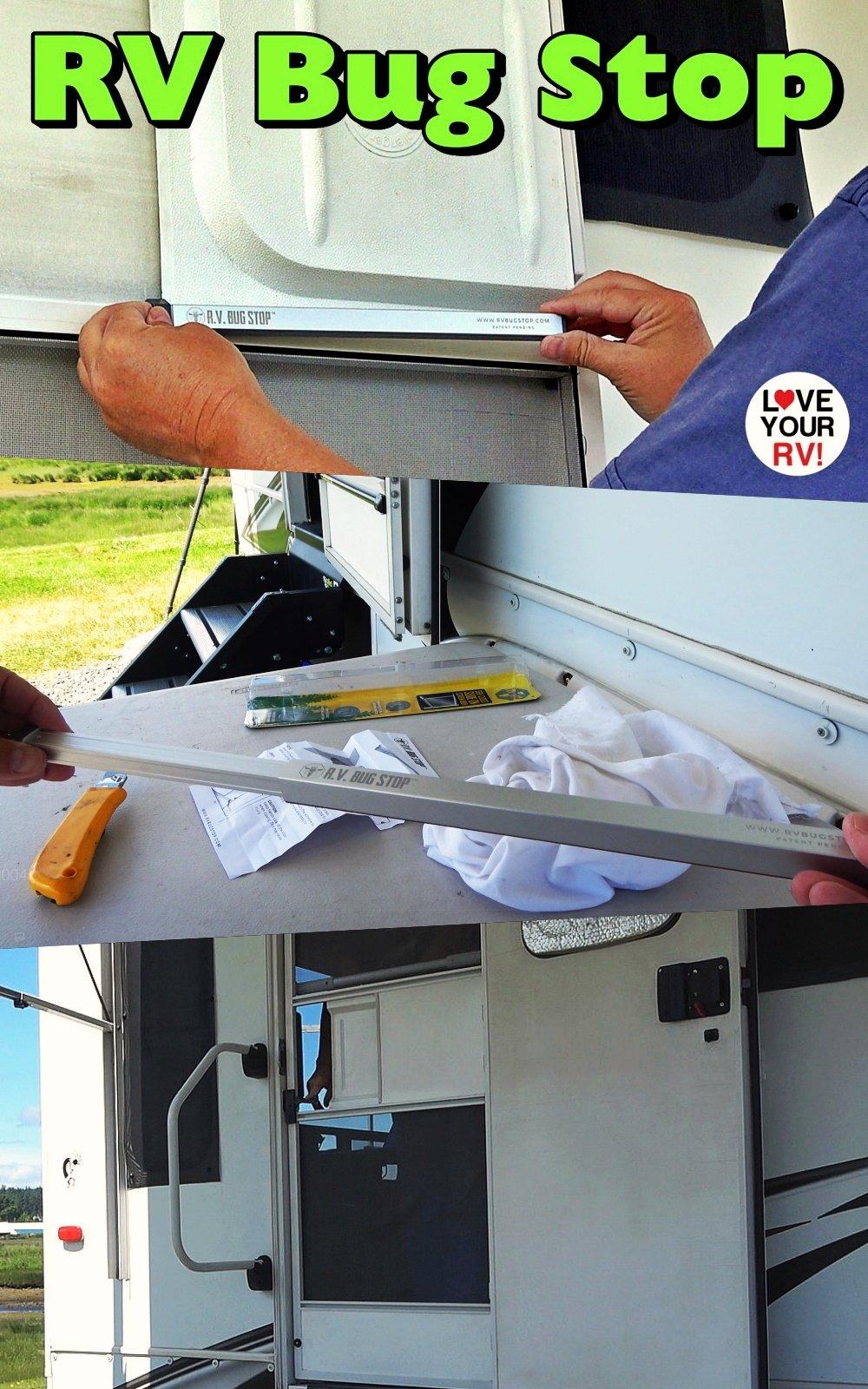 Installing the RV Bug Stop auto RV screen door flap closer gadget