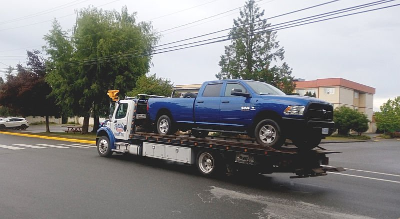 Big Blue on Tow Truck
