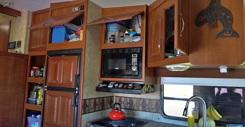Open cupboards to let heat out