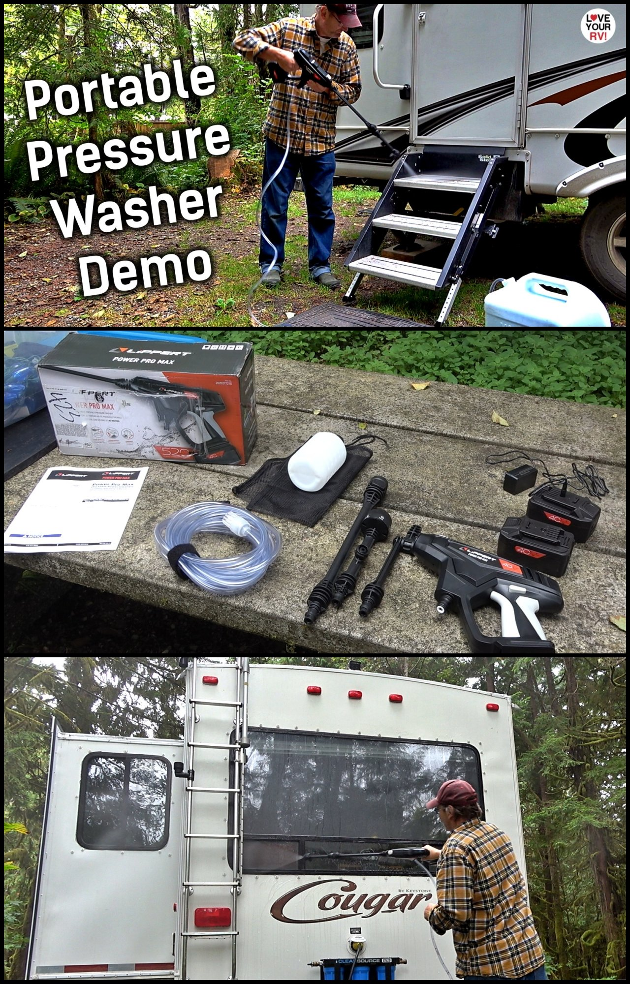 Lippert Power Pro Max Portable Pressure Washer Camping Demo Uses